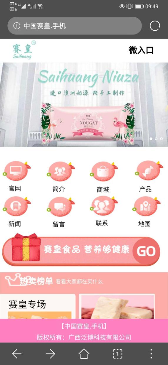 """广西泛博科技注册""""中国赛皇.手机""""中文域名 助力品牌转型升级"""
