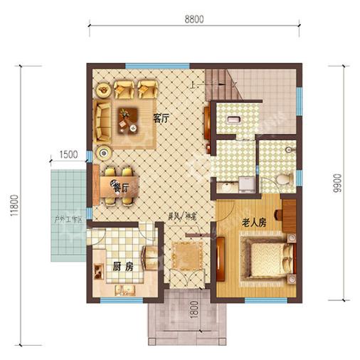 100平方米建房平面图