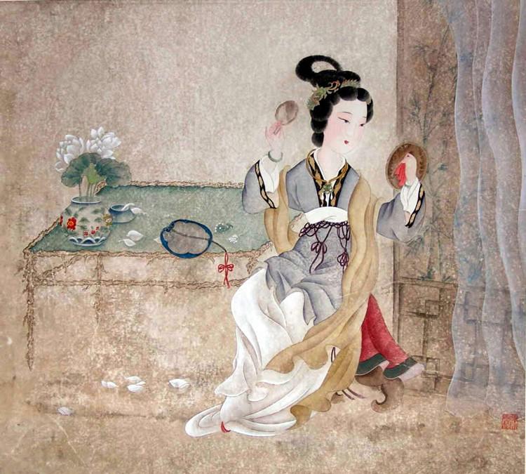 图示:古代美女对镜化妆
